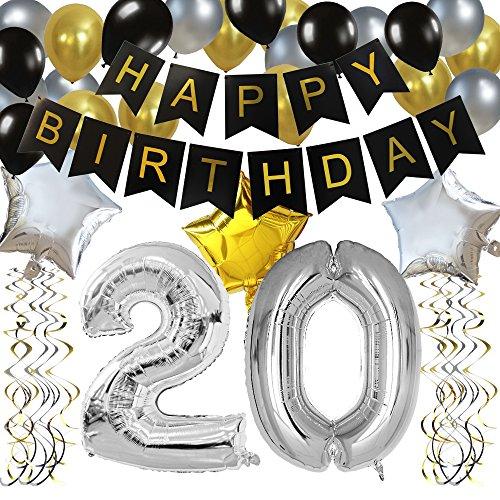 """KUNGYO Clásico Decoración de Cumpleaños -""""Happy Birthday"""" Bandera Negro;Número 20 Globo;Balloon de Látex&Estrella, Colgando Remolinos Partido para el Cumpleaños de 20 Años"""