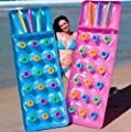 Bestway Inflatable 18 Pocket Fashion Sun Lounger Lilo Swimming Pool Air Bed Beach Mat 2 Colours : Pink Or Blue
