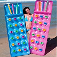 SET OF 2 Bestway Inflatable 18 Pocket Fashion Sun Lounger Lilo Swimming Pool Air Bed Beach Mat Pink And Blue