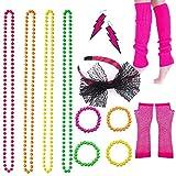 BRT 80er Jahre Neon Halsketten Armbänder Fischnetz Handschuhe Beinlinge Spitze Bogen Stirnband Neon Ohrringe 1980er Jahre Kostümzubehör Party Kostüm für Frauen Mädchen Damen