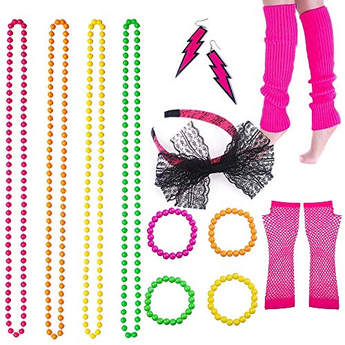 BRT 80s Neon Collares Pulseras Fishnet Gloves Calentadores de piernas Lace Bow Diadema Neon Earrings 1980s Accesorios de Disfraces Party Disfraz para Mujeres Niñas Señoras