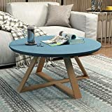 JIE Teetisch, Moderner Minimalistischer Wohnzimmertisch, Runder Kleiner Beistelltisch, Kleines Tischchen/Teetisch Klein,Blau,70cm / 27.6In