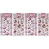 4 Hello Kitty Sticker-Bögen mit Aufklebern für Kinder und Jugendliche (4x Bögen Set1)