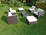 New Rattan Wicker Conservatory Outdoor Garden Furniture Set Corner Sofa Table Dark mixed brown
