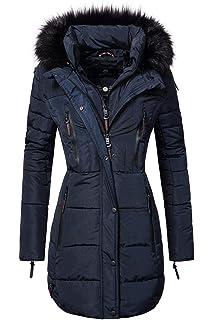 Navahoo Damen Wintermantel Steppmantel mit abnehmbarem Kunstfell Tirana 5 Farben XS-XXL