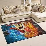 Yibaihe Leicht Bedruckt Bereich Teppich Teppich Fußmatte Blau und Rot Boxhandschuhe für Wohnzimmer Schlafzimmer 3'x 2', 100% Polyester, Multi, 91 x 61 cm(3' x 2')