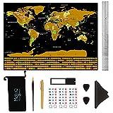 MolinQ Rubbel Weltkarte mit Fahnen | Extra Große Landkarte zum Rubbeln | Inklusive viel Zubehör | Perfekt für Weltenbummler | Schwarz | XXL 82,5 x 59,5 cm