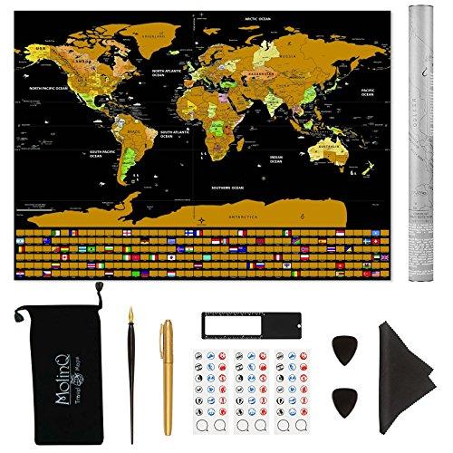 Mappa del Mondo da Grattare, con Bandiere   XXL Extra Large   Tantissimi Accessori Inclusi   Un Regalo Perfetto per i Viaggiatori   Nero   82,5 x 59,5 cm