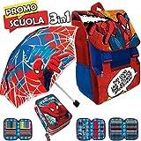Trade shop traesio Sac à Dos Scolaire Extensible Spiderman Marvel Kit Complet Parapluie et étui à Crayons 3Zip