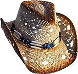 Cowboyhut Strohhut Westernhut Hut mit Hutband beige/braun geflammt Gr.57-60