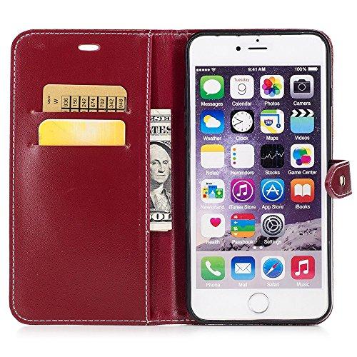 """MOONCASE iPhone 6/iPhone 6s Hülle, Weich PU Leder mit Standfunktion Handysocken Built-in Card Holster Folio Brieftasche Case für iPhone 6/iPhone 6s 4.7"""" Golden Dunkelrot"""