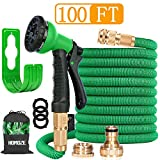 HOMOZE 100FT Expandable Garden Water Hose Pipe Expanding Flexible Hose With Solid Brass