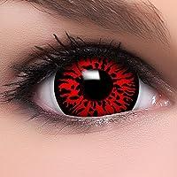 Farbige Mini Sclera Kontaktlinsen Lenses  Dämon  inkl. 10ml Kombilösung und Behälter, in rot, weich ohne Stärke, 2er Pack - Top-Markenqualität, angenehm zu tragen und perfekt zu Halloween oder Karneval