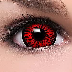 """Farbige Mini Sclera Kontaktlinsen Lenses """"Dämon"""" inkl. 10ml Kombilösung und Behälter, in rot, weich ohne Stärke, 2er Pack - Top-Markenqualität, angenehm zu tragen und perfekt zu Halloween oder Karneval"""