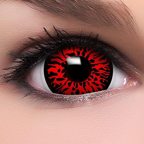 """Farbige Mini Sclera Kontaktlinsen Lenses \""""Dämon\"""" inkl. 10ml Kombilösung und Behälter, in rot, weich ohne Stärke, 2er Pack - Top-Markenqualität, angenehm zu tragen und perfekt zu Halloween oder Karneval"""