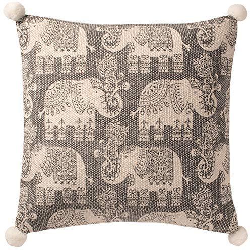 Second Nature Online - Funda de cojín (algodón, 45 x 45 cm), diseño de Elefante, Color Gris