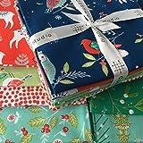 Tela de Navidad Bundle–Winter Wonderland dashfb27–Árboles de reno acebo muérdago Copos de nieve Búhos Ramas–7piezas de Navidad Retales de tela Bundle–7(55x 50cm piezas)–100% algodón