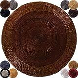 6er Pack Glasperlen Tischset Handgefertigt Ø36cm Auswahl: Braun - Bronze
