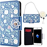 SMART LEGEND iPhone 7 Plus Flip Cover per Donne Ragazza, SMARTLEGEND PU Leather Custodia Wallet, Nuovo Shock Assorbimento Caso, Lussuoso Card Holder Bumper Case Cover - Gelsomino