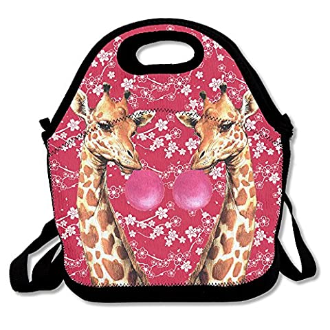 Nadine Giraffes With Bubblegum Framed Art Insulated Lunch Bag - Neoprene Lunch Bag - Large Reusable Lunch Tote Bags For Women, Teens, Girls, Kids, Baby, Adults Portable