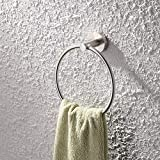 KES SUS 304 Stainless Steel Bath Towel Holder Hand Towel Ring Hanging Towel Hanger Bathroom Accessories Contemporary Hotel Square Style Wall Mount, Brushed Finish, A2180-2