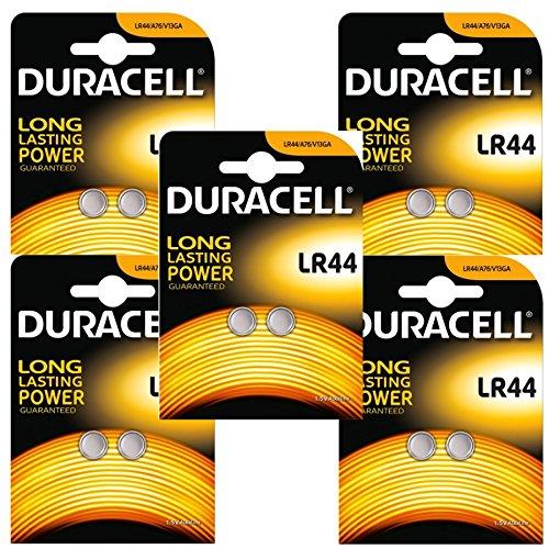 Duracell PX76A Alkaline Batterien Knopfzelle 10 x LR44 A76 1,5V [5 x 2er-Blister]