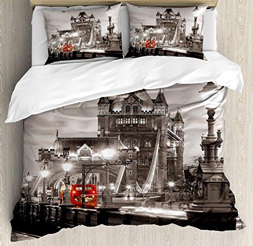 Schwarz und Weiß 3-teiliges Bettwäscheset Bettbezug-Set, London Theme Tower Bridge in der berühmten Stadt Urban Life Scenery Europe, 3-tlg. Tröster- / Qulitbezug-Set mit 2 Kissenbezügen, Taupe-Grau-Ro -