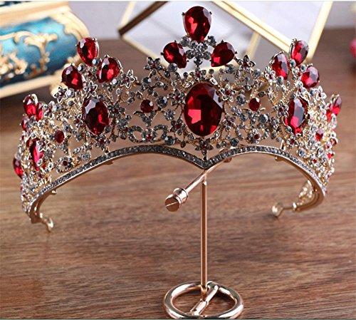 Queen Bride Hochzeit Krone Braut Tiara Roter Kristall Handmade Diamant-Stirnband Barocke Palastkrone Kommunion Haar ZubehöR