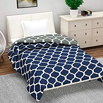 Divine Casa Natty Abstract Microfiber Reversible Single Dohar/Blanket - Grey and Blue
