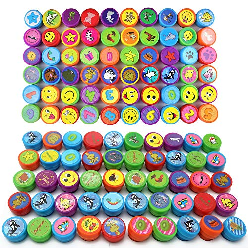 Großpackung 100 verschiedene Farbige Kinder Spielzeug Stempel - Niedliche Mini Emoji, Tiere, Cartoon eingefärbtes Stempelset für Kinder Geburtstag Mitgebset, Party Taschen, Pinata Füller, Schulpreise -