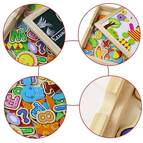 Tablero magnético de dibujo de madera de doble cara Tablero magnético Puzzle Juegos de rompecabezas Juguetes educativos para niños (70+ Pcs)