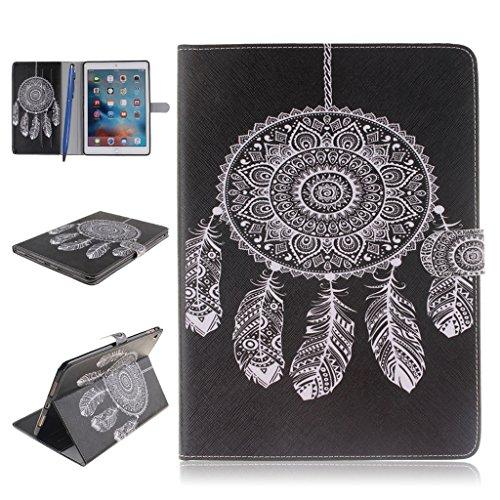 iPad Pro Funda,Careynoce Atrapasueños León Tigre Pattern Flip PU Cuero Carcasas Funda Case Cover para Apple iPad Pro iPad 7 (9.7 pulgada) - Negro Atrapasueños