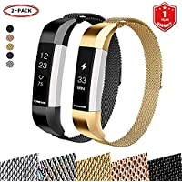 FunBand® for Fitbit Alta HR and Alta Strap Mental Bands,Milanese Stainless Steel Adjustable Replacement Accessory Bracelet Straps (Small Size) with Convenience Magnet Lock for Fitbit Alta (2016) and Fitbit Alta HR (2017) Fitness Wristband (2-Pack)