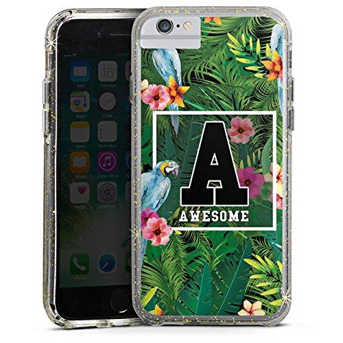 Apple iPhone 6 Bumper Hülle Bumper Case Glitzer Hülle Awesome College Blumen Bumper Case Glitzer gold