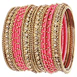 Nmii Handmade Silk Fabric Bangle Set Studded With Golden Zircon For Women & Girls (Available In Colors)