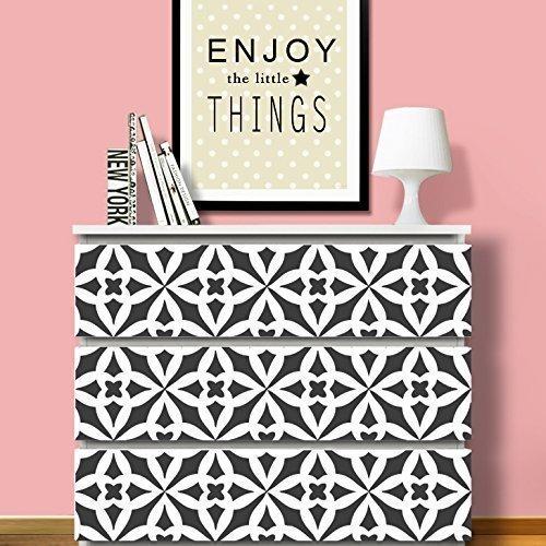 Grandora W5257 Wandtattoo Ornamente passend für IKEA HEMNES und MALM Kommode Motiv 1: 79,6 x 20,2 cm schwarz (Schlafzimmer Für Schwarze Kommoden Ikea)