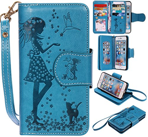 """Lankashi Housse Case Stand Cuir Cover Flip Etui Coque Protection Skin Wallet Pour Apple Iphone 6 4.7"""" Blue Desing Blue"""