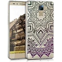 kwmobile Funda para Huawei Honor 7 / Honor 7 Premium - Case para móvil en TPU silicona - Cover trasero Diseño sol azteca en petróleo rosa fucsia transparente