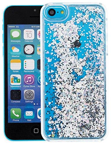 Nnopbeclik Transparent PC Hülle Für Apple Iphone 5C, Durchsichtig Ultra Slim PC Hard BackCover Case Creative Flüssiger Sequins Diamant 3D Bling Bling Blume Case Etui, Schutzhülle Muster Glänzend Glitz Blume B