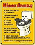 Original RAHMENLOS Blechschild Kloordnung: bitte im Sitzen pinkeln - Klorollen wachsen nicht nach - … Nr.3300