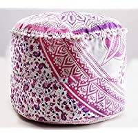 Preisvergleich für Sophia, Indian Pink Ombre Mandala-Fußhocker, Rund Pouf-Hocker mit Pouffe Deko Pouf Fußhocker, Indischer Bequemes Sitzkissen, Baumwolle, Kissenhülle Pouf, 24x 14(Pink)