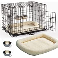 """Dog Crate Cage Small 24"""" Puppy & Dog Cage With Bed & Two Crate Bowls Faux Sheepskin Crate Bed Metal Folding Training Cage With Metal Tray (Design 5 Comfort Plus Cage, Size 1- 24"""" Small)"""