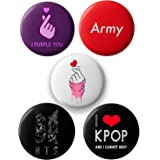 Lastwave Badge with BTS Band Collection, Design 3, Pin Badge for Bag (Pack of 5, 44 mm)