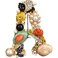 Spilla dell'alfabeto della perla di cristallo,Spilla con lettera iniziale di strass,Smalto placcato oro,Gioielli…
