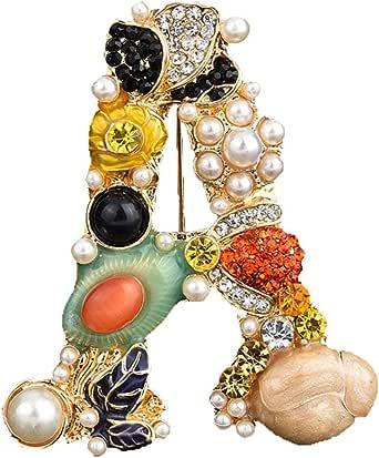 Spilla dell'alfabeto della perla di cristallo,Spilla con lettera iniziale di strass,Smalto placcato oro,Gioielli colorati dell'alfabeto,Design personalizzato,per vestiti cappelli calze di Natale decorazione regali
