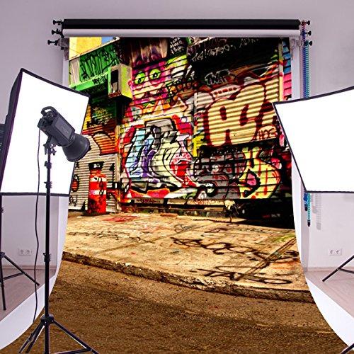 Mohoo 5X7FT Seide Material Fotografie Hintergrund Tuch Stoff Graffitiwand Kinder Thema Hintergrund Studio (Themen Requisiten)