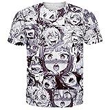 Ahegao Anime T Shirt Unisex Casual Grafik T-Shirt 3D Gedruckt Sommer Tops Tees 5XL