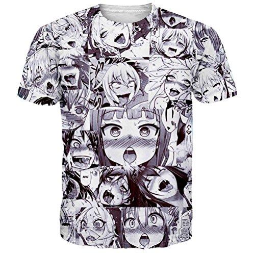Ahegao Anime T Shirt Unisex Casual Grafik T-Shirt 3D Gedruckt Sommer Tops Tees 5XL (Teens-jungs Für Bedruckte T-shirts)