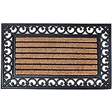 Esschert Design - Zerbino rettangolare in gomma, a lavorazione artistica, inserto centrale in fibre di cocco, circa 75 x 47.6 cm, Nero/Naturale cocco