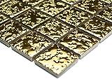 Mosaik-Netzwerk Mosaikfliese Quadrat uni gold gehämmert Keramik Mosaik, Mosaikstein Format: 2,5x2,5x6 mm, Bogengröße: 330x302 mm, 1 Bogen / Matte